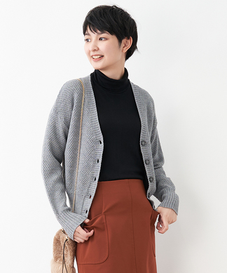 【特別提供品】ワッフルVネックカーディガン