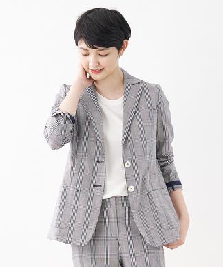 【セットアップ対応商品】チェック柄テーラードジャケット