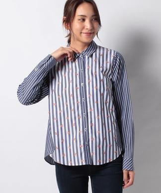 【MONTI 】異素材MIXのストライプシャツ