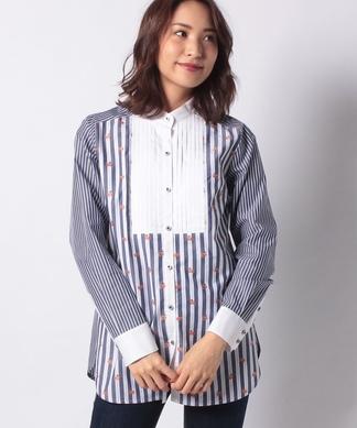 【MONTI 】異素材MIXのビブフロントシャツ