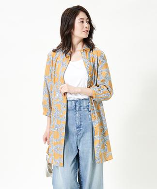 【DIVISIONE TESSILE 】フラワーロゴチュニックシャツ