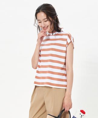 ハイネックボーダーTシャツ