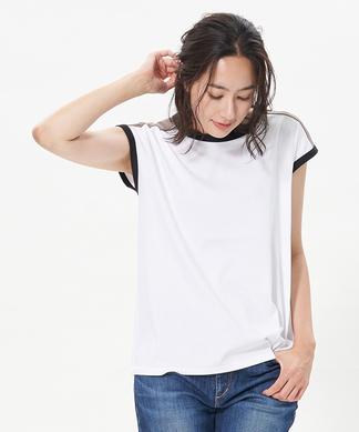 配色トリミングのフレンチスリーブTシャツ
