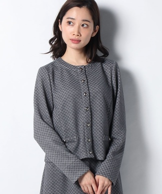 【セットアップ対応商品】キルティングノーカラージャケット