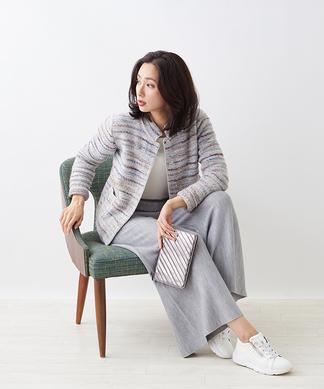【ANNE CLAIRE】ツイード風ニットジャケット