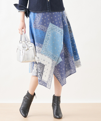 【MATCH POINT】パッチワーク風プリントスカート