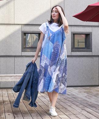 【MATCH POINT】パッチワーク風プリントのジャンパースカート