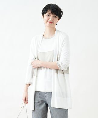 【NNE CLAIRE】ブロッキングカーディガン