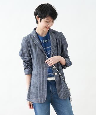 【TEXMODA】ピンストライプテーラードジャケット