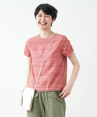アイレットレースMIXのTシャツ