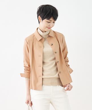 レザー調シャツジャケット