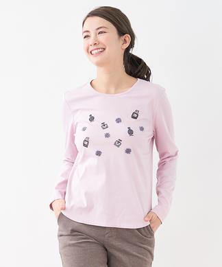 モチーフ刺繍Tシャツ