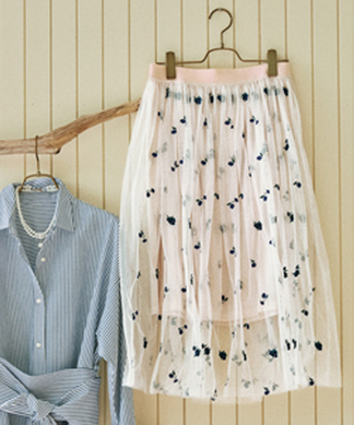 【セットアップ対応】【BEATRICE】フラワー刺繍チュールスカート