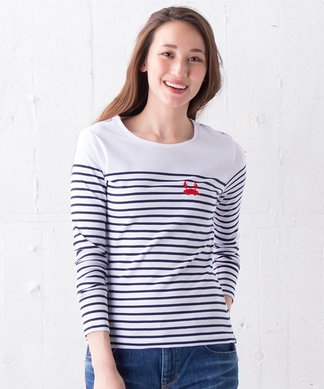 【ULTRA TEE】カニ刺繍ボーダーカットソー