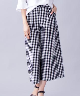 【Sono】ギンガムチェックワイドパンツ