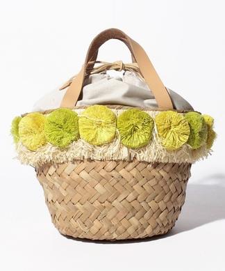 【Larone】ポンポン付ハンドバッグ