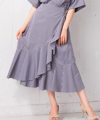 【セットアップ対応商品】【Nouque】ギンガムチェックロングフレアスカート