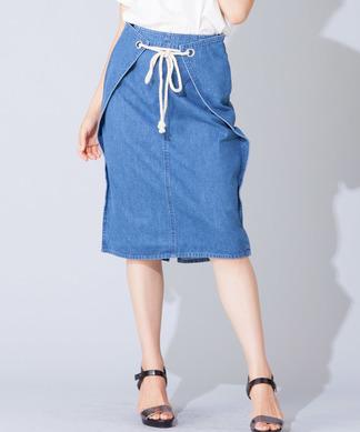 【FUHAM】ミディ丈デニムタイトスカート