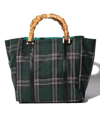 【CASSELINI】タータンチェック柄バンブーハンドバッグ