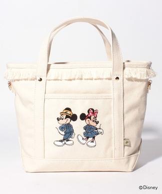 【ACCOMMODE】ミッキー&ミニー刺繍ハンドバッグ
