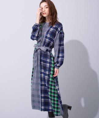 ブルーWebカラー限定【Le mien】ワンピ-ス