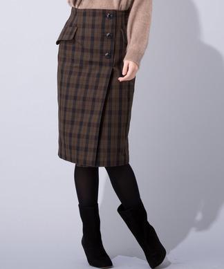 チェック柄ミディタイトスカート