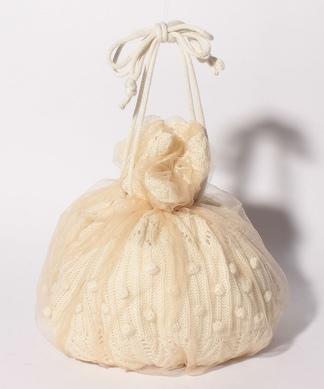 【ACCOMMODE】ニット×チュール巾着バッグ