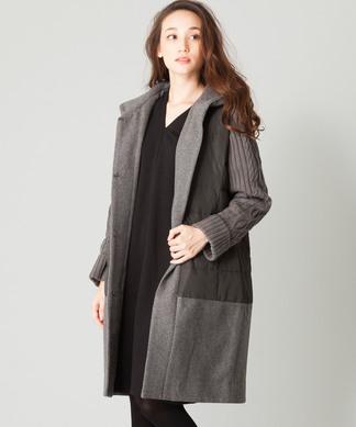 異素材ロングコート