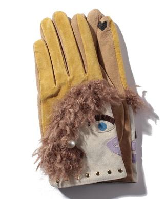 【CASSELINI】スマホ対応フェイスモチーフ手袋