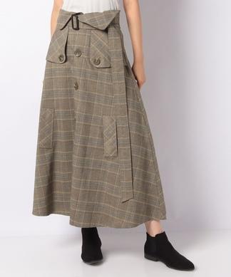 【GALENA】グレンチェックロングスカート