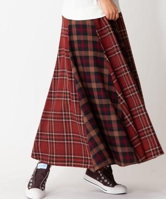 【MONILE】チェックロングスカート