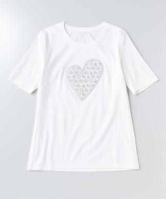 【PUPULA】ハート刺繍Tシャツ