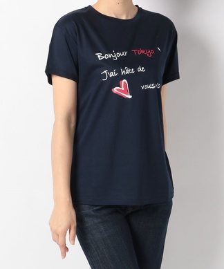 【Nouque】メッセージロゴプリントTシャツ