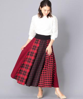 【MONILE】チェックマルチパターンスカート