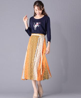 【Portcros】小紋柄切替えロングスカート