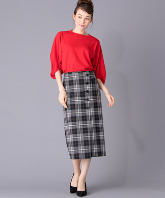 【Brahmin】ラップ風チェック柄スカート