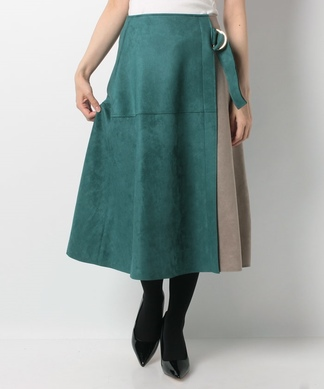 バイカラーミディフレアスカート