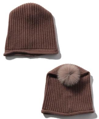 フォックスファー付きニット帽