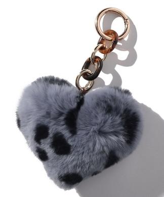 【Bicoastal Fur】ハートモチーフ×レオパード柄キーホルダー