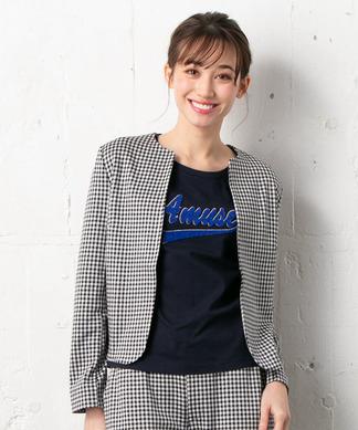 【セットアップ対応商品】【PUPULA】ギンガムノーカラージャケット