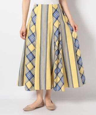 【Sono】チェック×ストライプフレアスカート