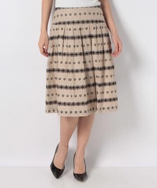 【RUBAN D'OR】刺繍レースフレアスカート