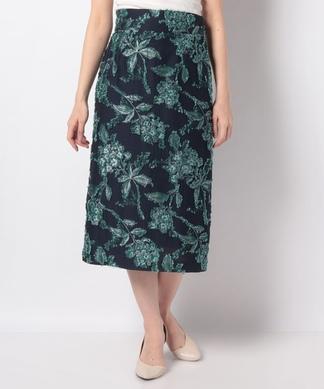 ボタニカル柄ジャガードタイトスカート