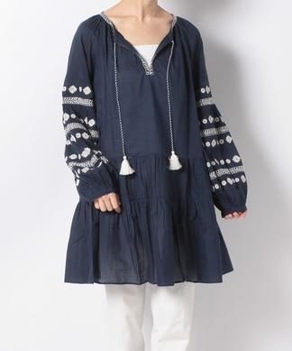【BENARAS BY CITRUS】チュニック丈刺繍ブラウス
