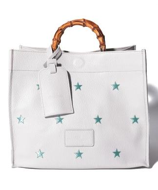 【NUR】スター柄刺繍ハンドバッグ