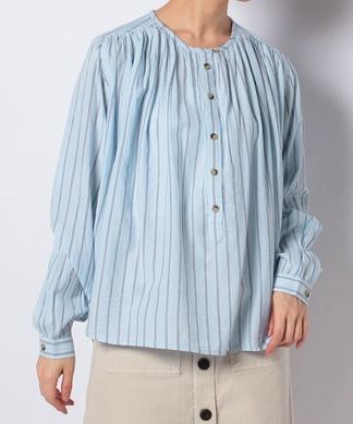 【LEON & HARPER】クラシカルストライプ柄ノーカラーシャツ