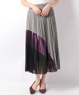 配色切替えロングプリーツスカート