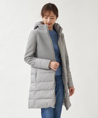 【HERNO】異素材コンビロングダウンコート