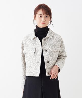 レオパード織リショートジャケット