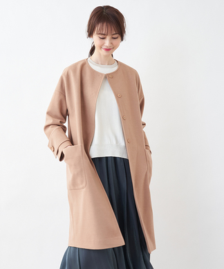 【Special Price】【Nouque】ノーカラーロングコート